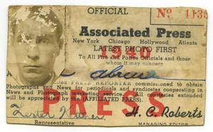 Primary view of object titled 'Joe Abreu's Associated Press Card'.