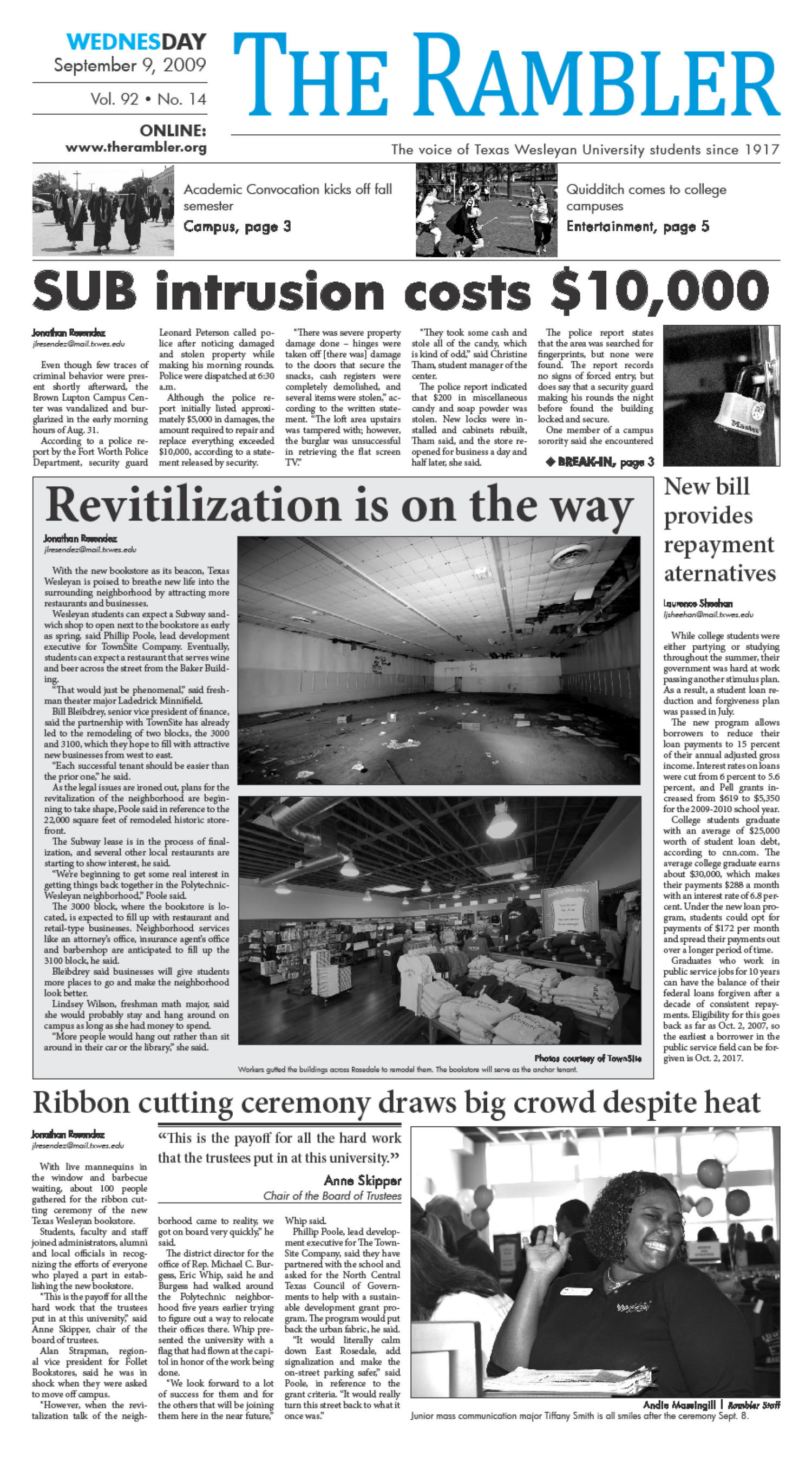The Rambler (Fort Worth, Tex.), Vol. 92, No. 14, Ed. 1 Wednesday, September 9, 2009                                                                                                      [Sequence #]: 1 of 6