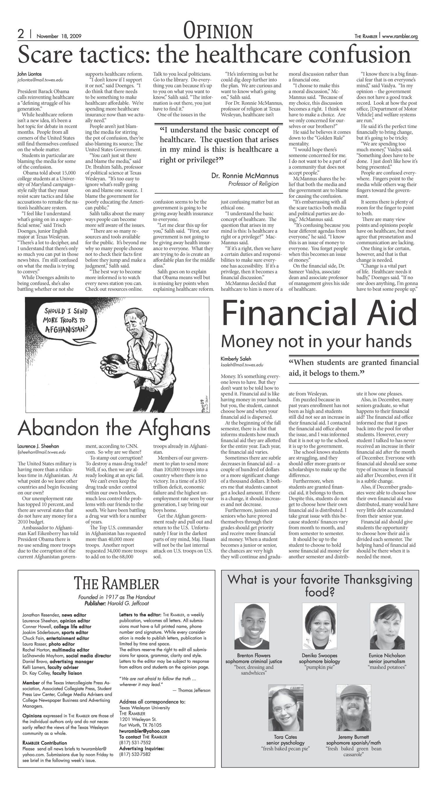 The Rambler (Fort Worth, Tex.), Vol. 92, No. 24, Ed. 1 Wednesday, November 18, 2009                                                                                                      [Sequence #]: 2 of 6