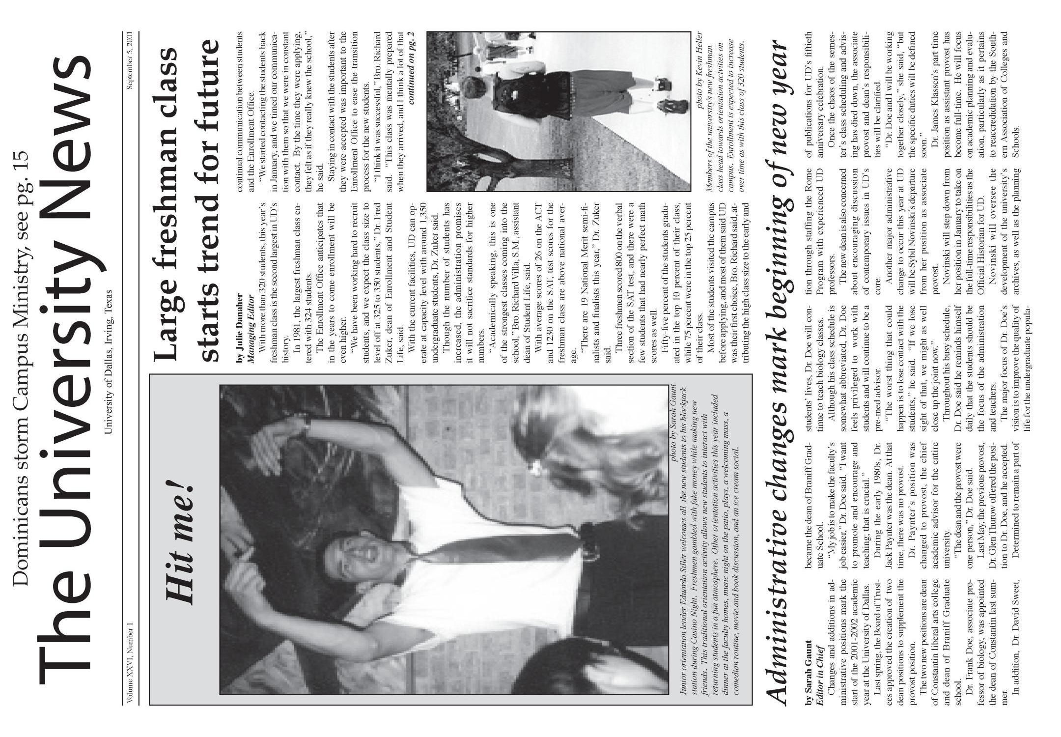 The University News (Irving, Tex.), Vol. 26, No. 1, Ed. 1 Wednesday, September 5, 2001                                                                                                      [Sequence #]: 1 of 15