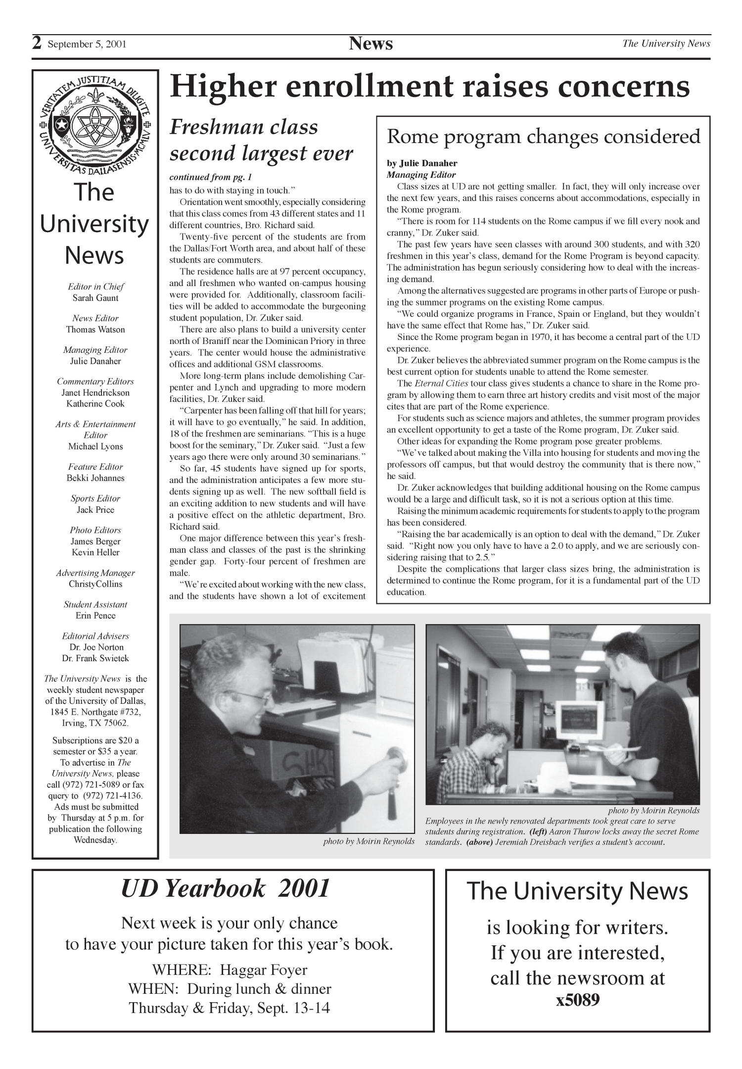 The University News (Irving, Tex.), Vol. 26, No. 1, Ed. 1 Wednesday, September 5, 2001                                                                                                      [Sequence #]: 2 of 15