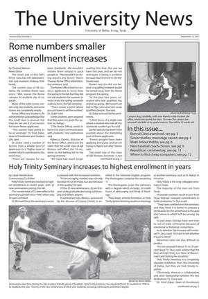Primary view of object titled 'The University News (Irving, Tex.), Vol. 26, No. 2, Ed. 1 Wednesday, September 12, 2001'.