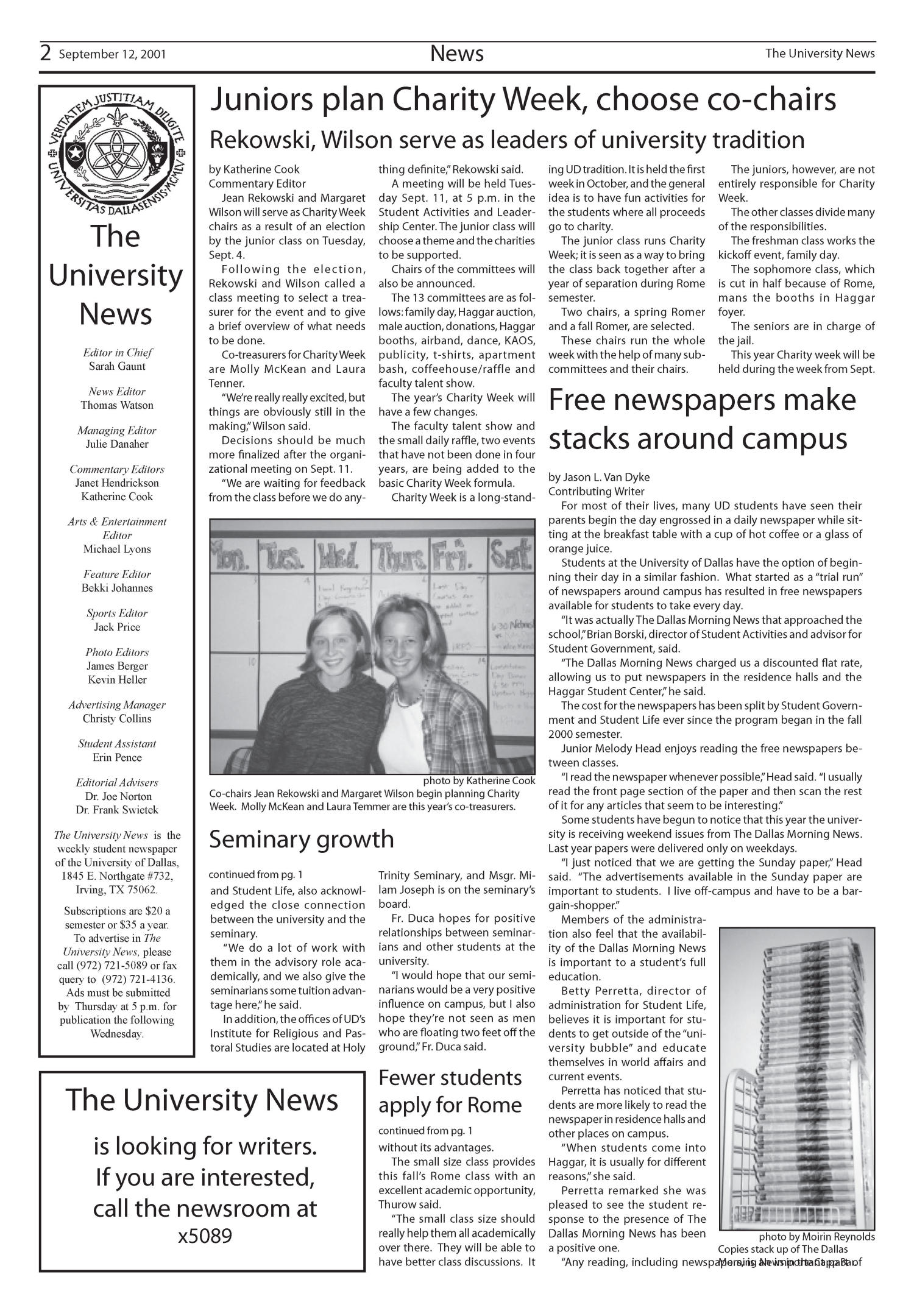 The University News (Irving, Tex.), Vol. 26, No. 2, Ed. 1 Wednesday, September 12, 2001                                                                                                      [Sequence #]: 2 of 11