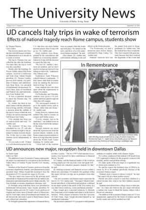 Primary view of object titled 'The University News (Irving, Tex.), Vol. 26, No. 3, Ed. 1 Wednesday, September 19, 2001'.