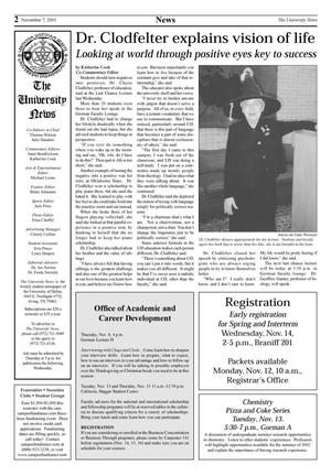 Primary view of object titled 'The University News (Irving, Tex.), Vol. [26], No. [9], Ed. 1 Wednesday, November 7, 2001'.