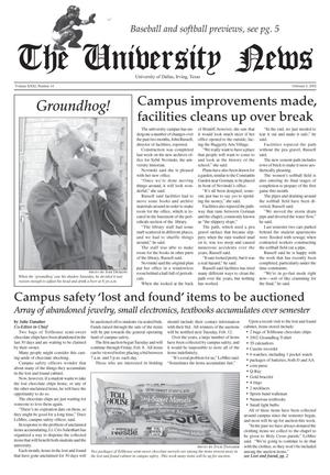 Primary view of object titled 'The University News (Irving, Tex.), Vol. 31, No. 14, Ed. 1 Wednesday, February 6, 2002'.