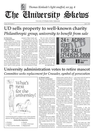 Primary view of object titled 'The University News (Irving, Tex.), Vol. 104, No. 2, Ed. 1 Monday, April 1, 2002'.