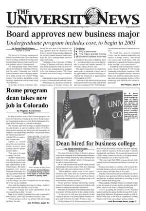 The University News (Irving, Tex.), Vol. 32, No. 1, Ed. 1 Wednesday, August 28, 2002