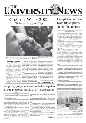 Primary view of object titled 'The University News (Irving, Tex.), Vol. 32, No. 4, Ed. 1 Wednesday, September 18, 2002'.