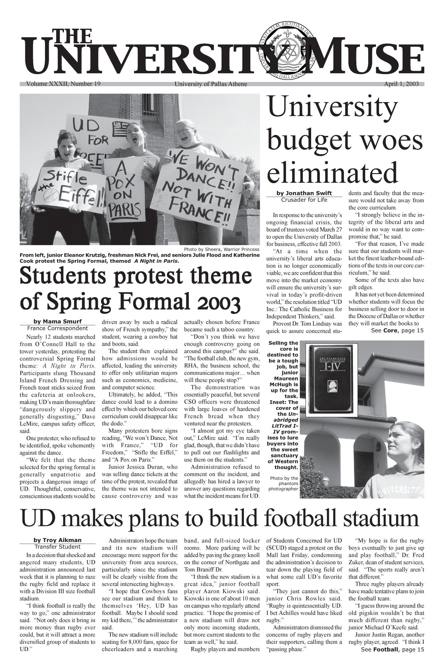 The University News (Irving, Tex.), Vol. 32, No. 19, Ed. 1 Wednesday, April 2, 2003                                                                                                      [Sequence #]: 1 of 16