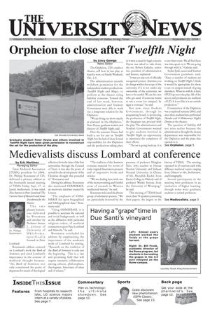 Primary view of object titled 'The University News (Irving, Tex.), Vol. 34, No. 3, Ed. 1 Wednesday, September 22, 2004'.