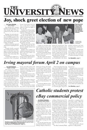Primary view of object titled 'The University News (Irving, Tex.), Vol. 34, No. 23, Ed. 1 Wednesday, April 27, 2005'.