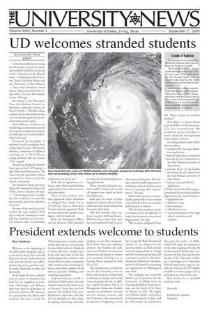 Primary view of object titled 'The University News (Irving, Tex.), Vol. 35, No. 1, Ed. 1 Wednesday, September 7, 2005'.