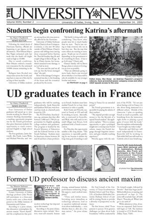 Primary view of object titled 'The University News (Irving, Tex.), Vol. 35, No. 2, Ed. 1 Wednesday, September 14, 2005'.
