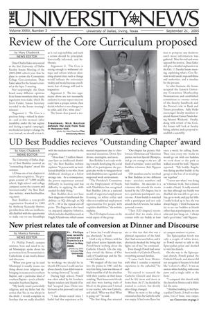 Primary view of object titled 'The University News (Irving, Tex.), Vol. 35, No. 3, Ed. 1 Wednesday, September 21, 2005'.