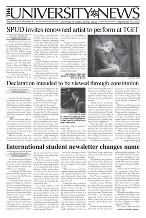 Primary view of object titled 'The University News (Irving, Tex.), Vol. 35, No. 4, Ed. 1 Wednesday, September 28, 2005'.