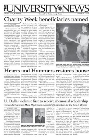 Primary view of object titled 'The University News (Irving, Tex.), Vol. 35, No. 5, Ed. 1 Wednesday, October 5, 2005'.