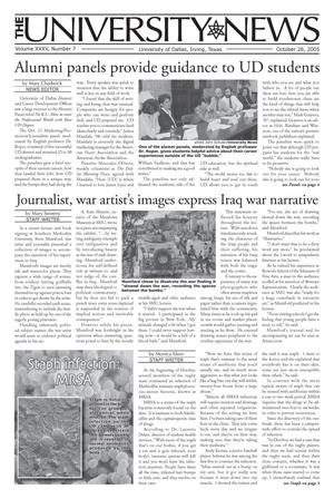 Primary view of object titled 'The University News (Irving, Tex.), Vol. 35, No. 7, Ed. 1 Wednesday, October 26, 2005'.