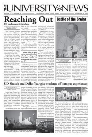 Primary view of object titled 'The University News (Irving, Tex.), Vol. 35, No. 9, Ed. 1 Wednesday, November 9, 2005'.