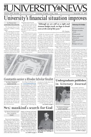 Primary view of object titled 'The University News (Irving, Tex.), Vol. 35, No. 10, Ed. 1 Wednesday, November 16, 2005'.