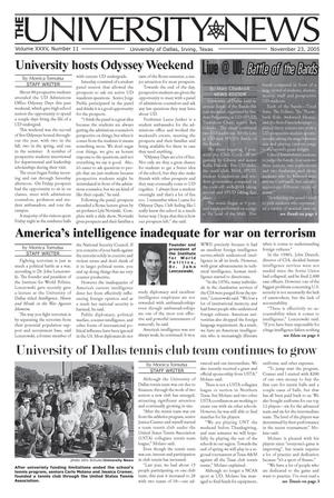 Primary view of object titled 'The University News (Irving, Tex.), Vol. 35, No. 11, Ed. 1 Wednesday, November 23, 2005'.