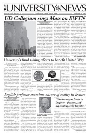 Primary view of object titled 'The University News (Irving, Tex.), Vol. 35, No. 12, Ed. 1 Wednesday, December 7, 2005'.
