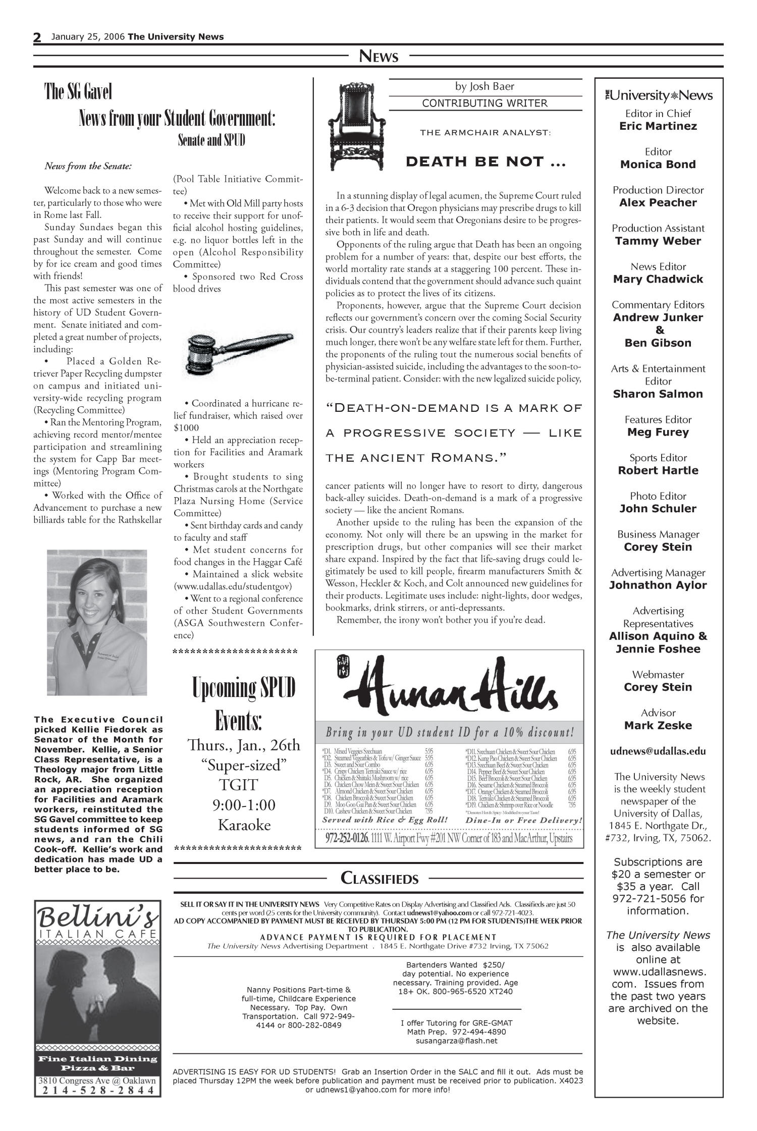 The University News (Irving, Tex.), Vol. 35, No. 13, Ed. 1 Wednesday, January 25, 2006                                                                                                      [Sequence #]: 2 of 12