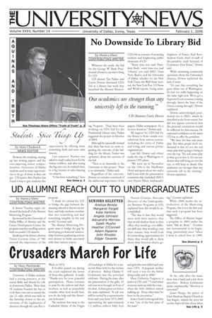 Primary view of object titled 'The University News (Irving, Tex.), Vol. 35, No. 14, Ed. 1 Wednesday, February 1, 2006'.