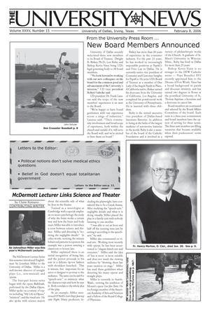 Primary view of object titled 'The University News (Irving, Tex.), Vol. 35, No. 15, Ed. 1 Wednesday, February 8, 2006'.
