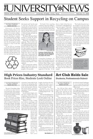 Primary view of object titled 'The University News (Irving, Tex.), Vol. 35, No. 16, Ed. 1 Wednesday, February 15, 2006'.