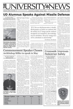 Primary view of object titled 'The University News (Irving, Tex.), Vol. 35, No. 17, Ed. 1 Wednesday, February 22, 2006'.