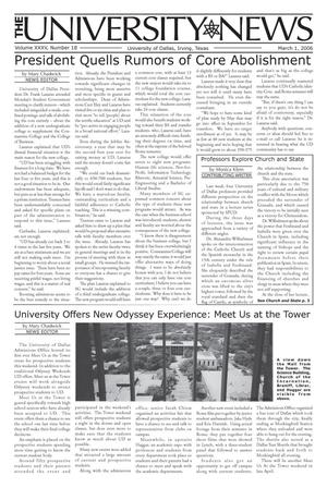 Primary view of object titled 'The University News (Irving, Tex.), Vol. 35, No. 18, Ed. 1 Wednesday, March 1, 2006'.