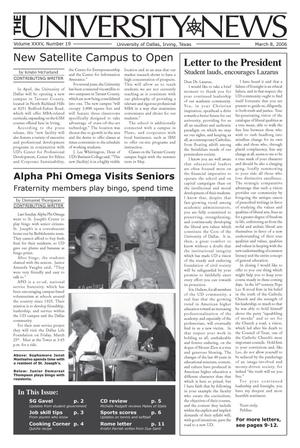 Primary view of object titled 'The University News (Irving, Tex.), Vol. 35, No. 19, Ed. 1 Wednesday, March 8, 2006'.