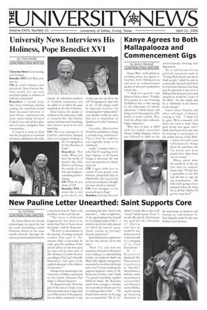 Primary view of object titled 'The University News (Irving, Tex.), Vol. 35, No. 21, Ed. 1 Wednesday, April 5, 2006'.