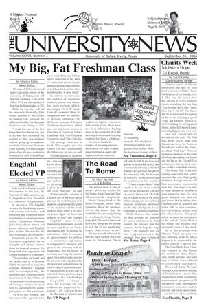Primary view of object titled 'The University News (Irving, Tex.), Vol. 36, No. 1, Ed. 1 Wednesday, September 20, 2006'.