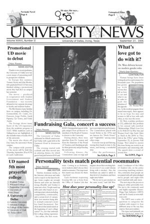Primary view of object titled 'The University News (Irving, Tex.), Vol. 36, No. 2, Ed. 1 Wednesday, September 27, 2006'.