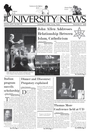 Primary view of object titled 'The University News (Irving, Tex.), Vol. 36, No. 7, Ed. 1 Wednesday, November 8, 2006'.