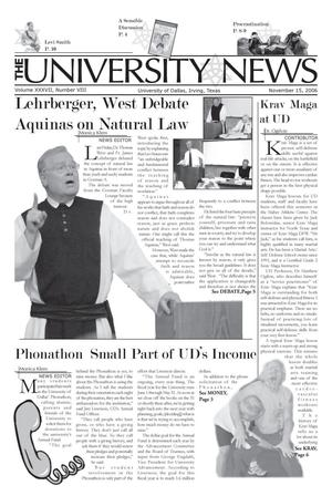 Primary view of object titled 'The University News (Irving, Tex.), Vol. 37, No. 8, Ed. 1 Wednesday, November 15, 2006'.