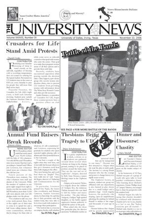 Primary view of object titled 'The University News (Irving, Tex.), Vol. 37, No. 9, Ed. 1 Wednesday, November 22, 2006'.