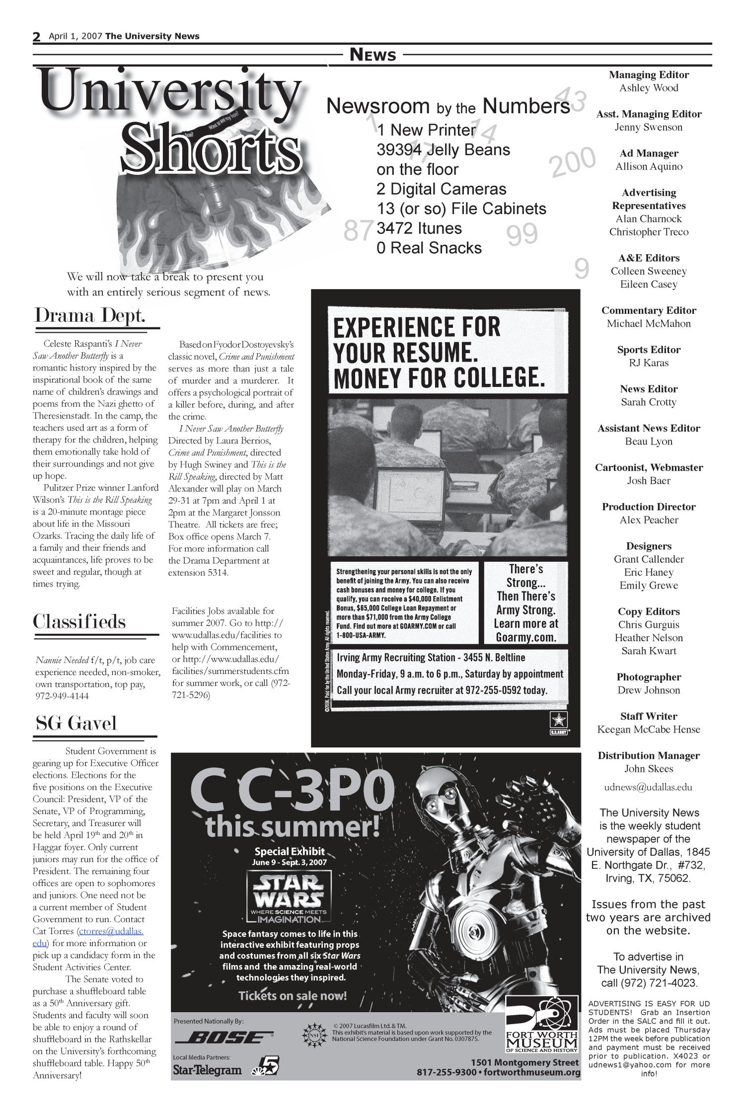The University News (Irving, Tex.), Vol. 37, Ed. 1 Sunday, April 1, 2007                                                                                                      [Sequence #]: 1 of 5