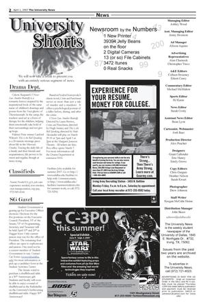 Primary view of object titled 'The University News (Irving, Tex.), Vol. 37, Ed. 1 Sunday, April 1, 2007'.