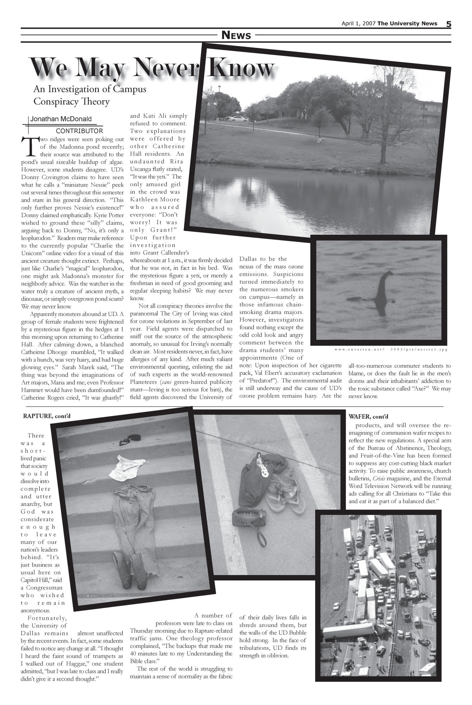 The University News (Irving, Tex.), Vol. 37, Ed. 1 Sunday, April 1, 2007                                                                                                      [Sequence #]: 2 of 5