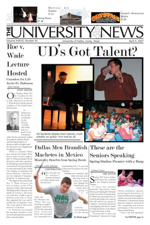 Primary view of object titled 'The University News (Irving, Tex.), Vol. 37, No. 15, Ed. 1 Wednesday, April 4, 2007'.