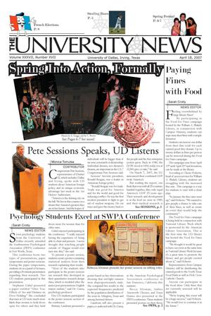 The University News (Irving, Tex.), Vol. 37, No. 17, Ed. 1 Wednesday, April 18, 2007