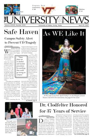 The University News (Irving, Tex.), Vol. 37, No. 18, Ed. 1 Wednesday, April 25, 2007