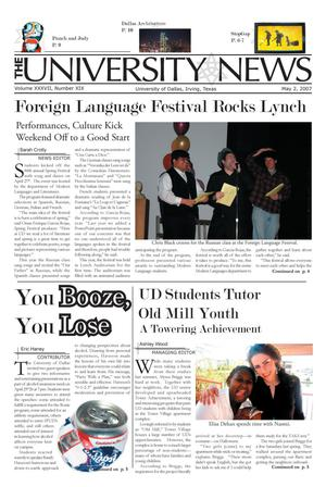 Primary view of object titled 'The University News (Irving, Tex.), Vol. 37, No. 19, Ed. 1 Wednesday, May 2, 2007'.