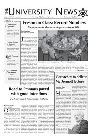 Primary view of object titled 'The University News (Irving, Tex.), Vol. 38, No. 1, Ed. 1 Wednesday, September 12, 2007'.