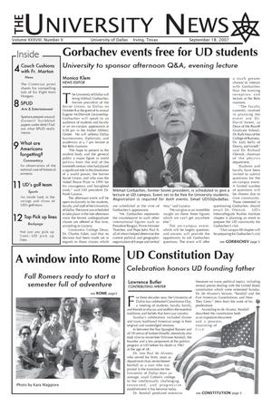 Primary view of object titled 'The University News (Irving, Tex.), Vol. 38, No. 2, Ed. 1 Tuesday, September 18, 2007'.