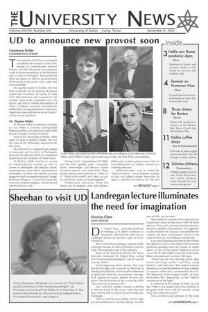 The University News (Irving, Tex.), Vol. 38, No. 8, Ed. 1 Tuesday, November 6, 2007