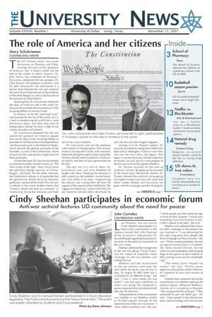 The University News (Irving, Tex.), Vol. 38, No. 9, Ed. 1 Tuesday, November 13, 2007